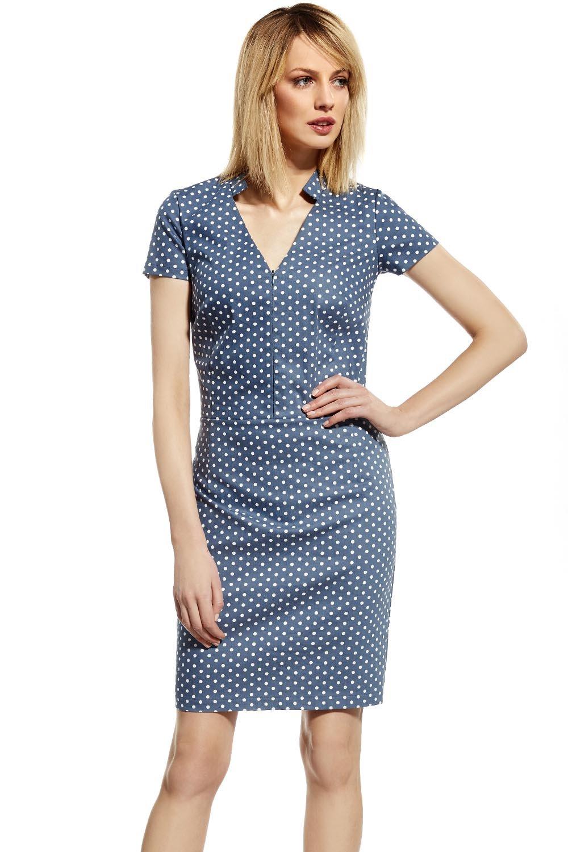 Ennywear 230074 Kleid Dame V-Ausschnitt Mini kurzarm Blau-Weiß ...