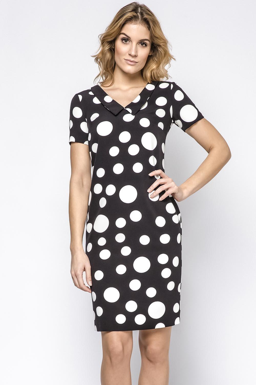 Ennywear 230125 Kleid Dame kurzarm V-Ausschnitt Midi Schwarz-Weiß ...