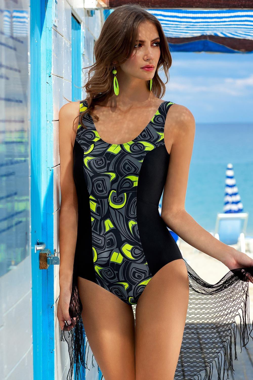 ... Ewlon Julia Badeanzug für Damen gemustert tiefer Rückenausschnitt  breite Träger Rundhals ... fcf7a1bccd